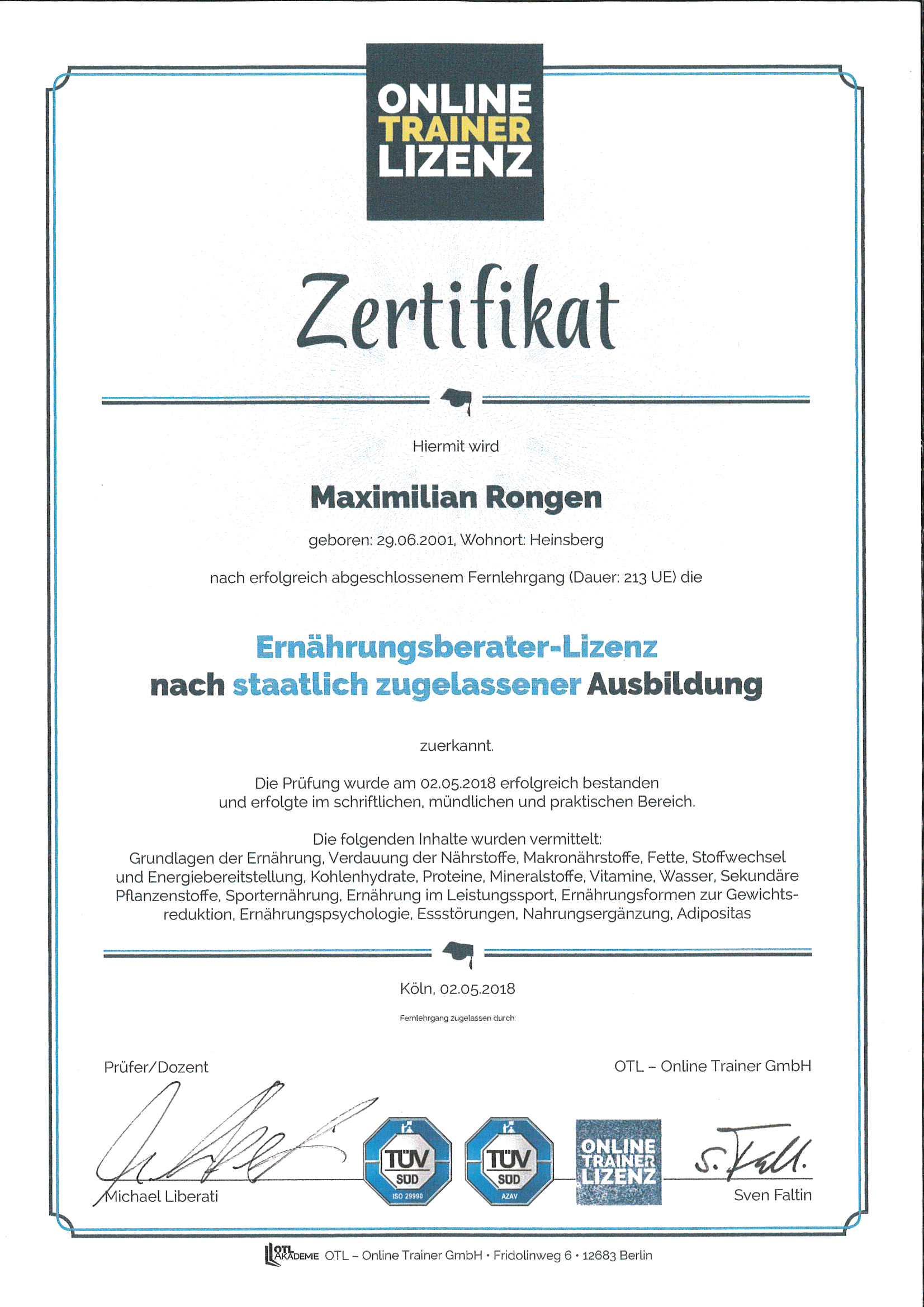 Max Rongen Ernährungsberater-Lizenz